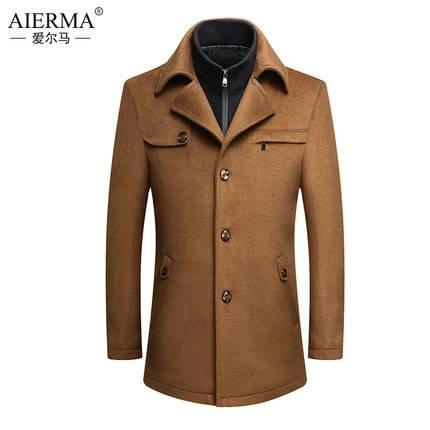 爱尔马 男士中年羊毛毛呢大衣 139元包邮(需用券)
