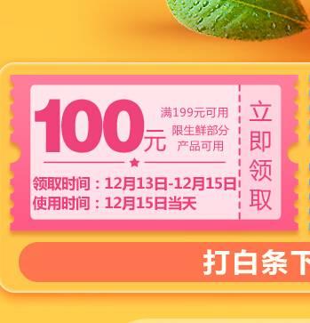 优惠券:京东自营 部分生鲜 满199-100元