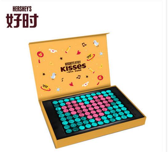 情人节:好时之吻KISSES巧克力心形创意拼制礼盒430g128元包邮