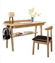實木書桌  原木色 1*0.55米 單書桌(雙抽屜) 490元包郵