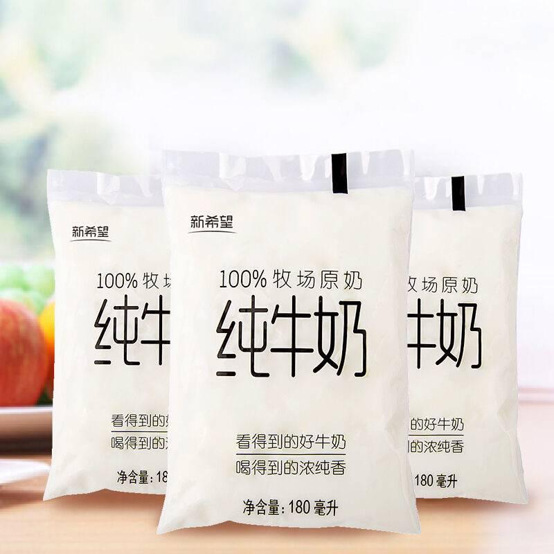 新希望 透明袋装 纯牛奶 180ml*12袋