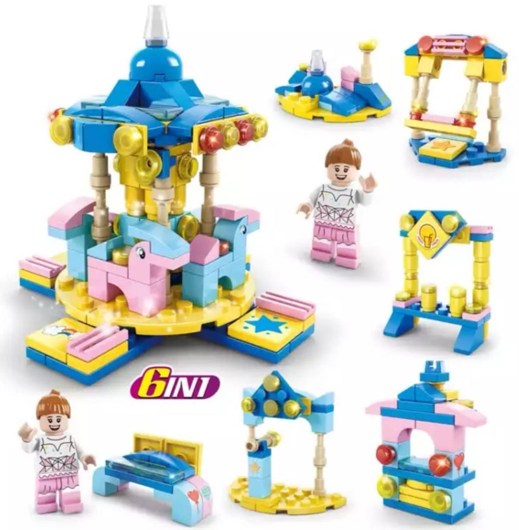 移动端:汇奇宝 拼装积木 女孩 游乐园  7种造型 159颗粒9.9元包邮(需拼团)