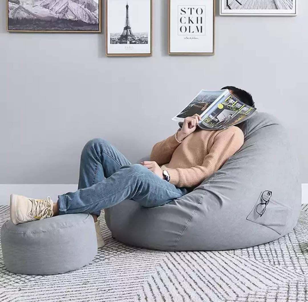 耐朴 懒人沙发豆袋  舒适款墨绿色  100*120CM 赠搁脚凳+抱枕
