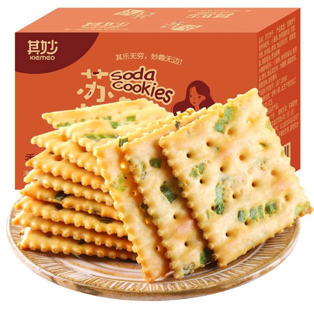 其妙  香葱苏打饼干  低脂无蔗糖  箱装500g