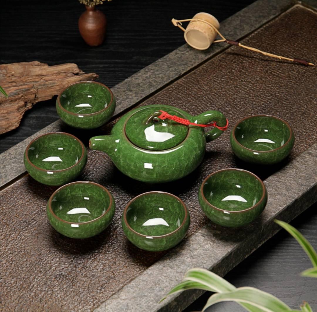 澜扬 陶瓷功夫茶具套装 孔雀绿 1壶6杯7.9元包邮(需用券)