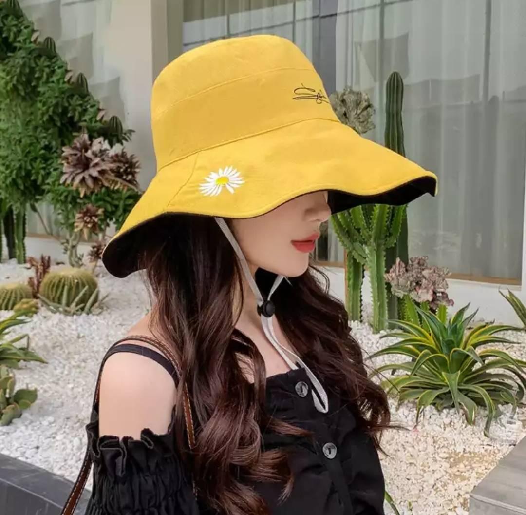 安妮莎 渔夫帽 刺绣小雏菊 遮阳防晒帽 双面戴 8.7元包邮