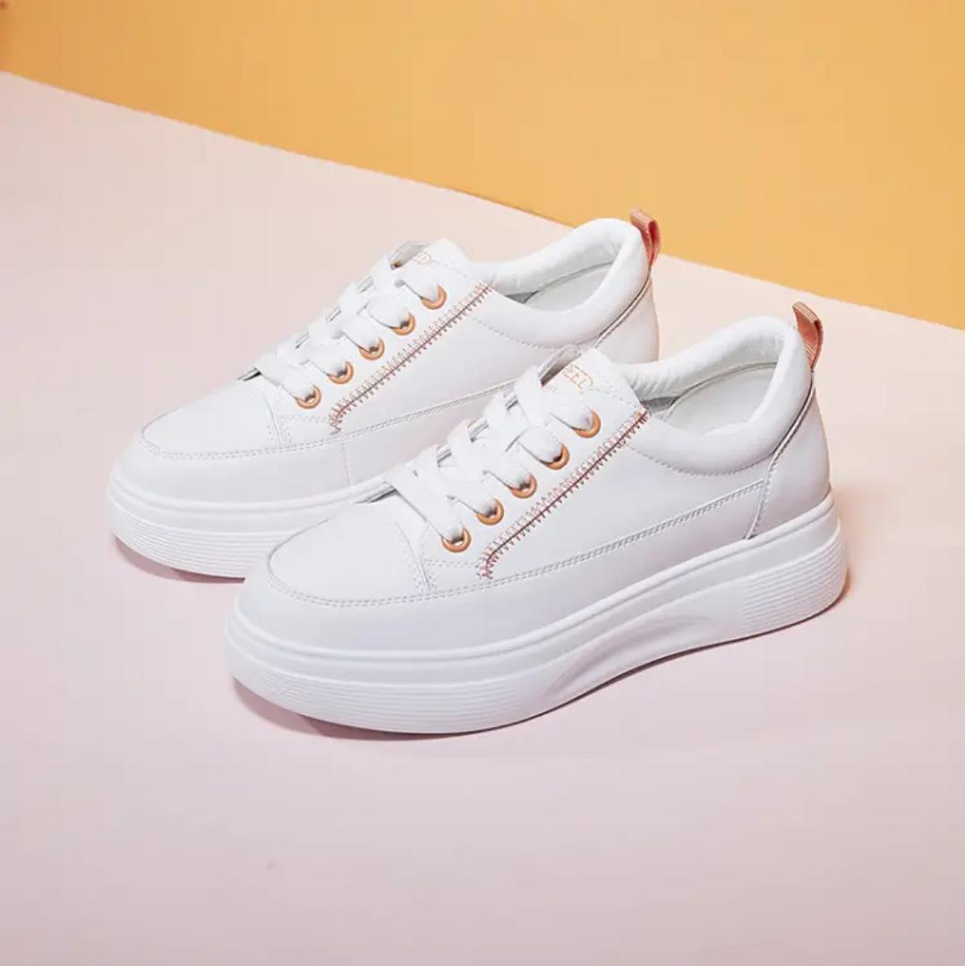 森马 厚底小白鞋女 白橘色 37