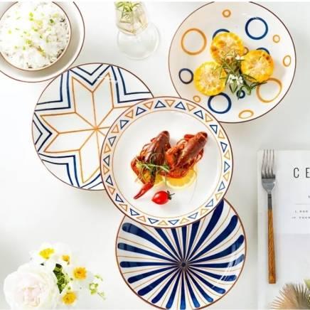京东极速版:尚行知是 创意陶瓷餐具套装7英寸盘 四色各一4个装