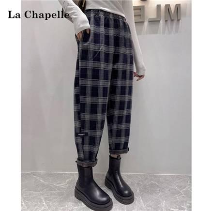 LaChapelle 拉夏贝尔 毛呢格子裤 哈伦裤 913413594 96元包邮