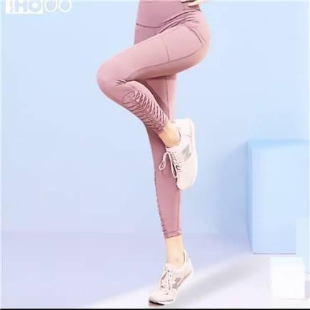 红豆 高腰提臀瑜伽裤女 粉紫-腰部网纱款3 M 57元包邮