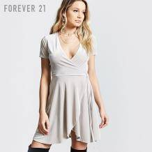 历史新低:Forever21 天鹅绒V领系带短袖连衣裙女