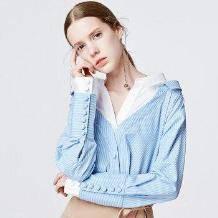 糖力 蓝白条纹撞色拼接翻领假两件衬衫139元包邮(需用券)