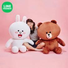 双11预售: LINE FRIENDS 大玩偶 75cm*2件 布朗熊&可妮兔569元包邮(需定金)