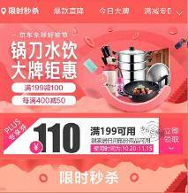优惠券:京东商城 家纺、厨具、家居 满199-110元    限PLUS会员领取
