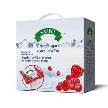 手慢无!限华东!多美鲜 樱桃 覆盆子果粒脱脂酸奶 100g*12盒9.9元