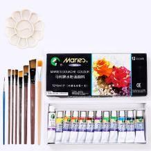 Marie s 马利 水粉颜料 12色*5ml 送画笔6支+调色盘+勾线笔8.99元包邮(需用券)