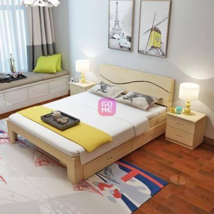 亿宸贵苏 实木双人床 1.8米*2.0米 (带抽屉) 570元包邮(立减350元)