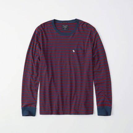 Abercrombie&Fitch 条纹标识款 男士T恤 77元包邮