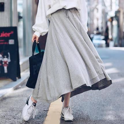 韩都衣舍 不规则纯色半身裙