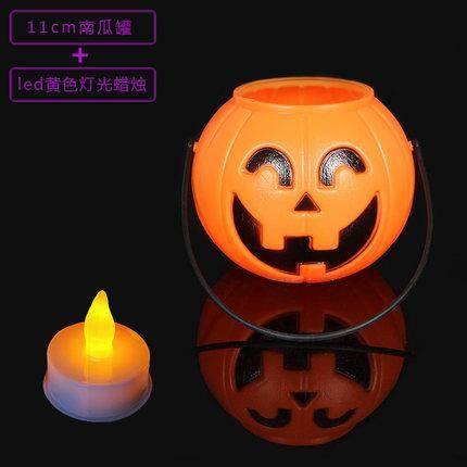 盛泉万圣节手提南瓜罐+电子蜡烛