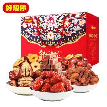 限地区:好想你 锦上添花礼盒 红枣坚果零食大礼包 1606g/提*6件