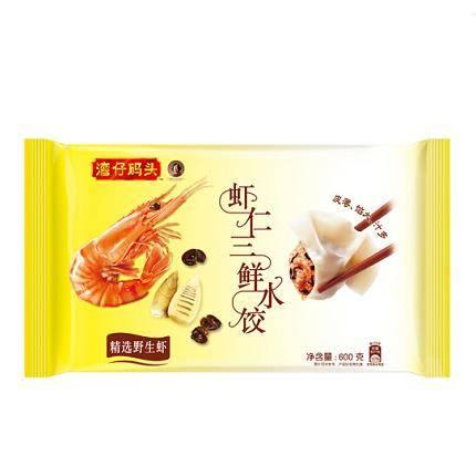 京东PLUS会员、限地区:湾仔码头 速冻水饺 虾仁三鲜口味 600g