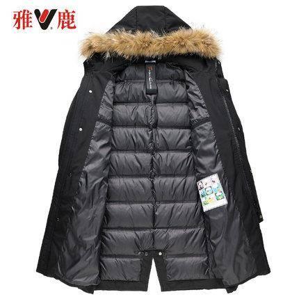 雅鹿 男士中长款羽绒服 90%含绒量 貉子毛领设计 469元包邮(用券)