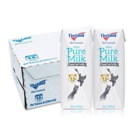 Theland纽仕兰 低脂4.0g蛋白质纯牛奶250ml*24盒(家庭装)*3件 123.5元包邮(双重优惠,合61.75元/件)