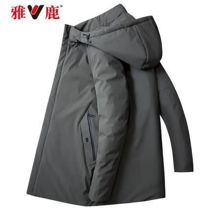 雅鹿 8023 男士长款加厚连帽棉服    143元包邮(立减)