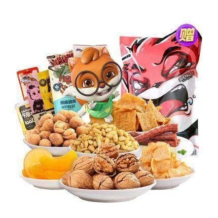 22点开始:Three Squirrels 三只松鼠 表情包坚果零食礼包 1095g/7袋 *2件