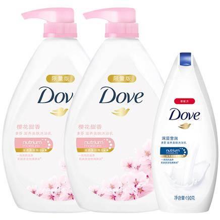 多芬 樱花甜香沐浴乳 1KGx2+190ml + 维达纸巾 + 沐浴露 190g