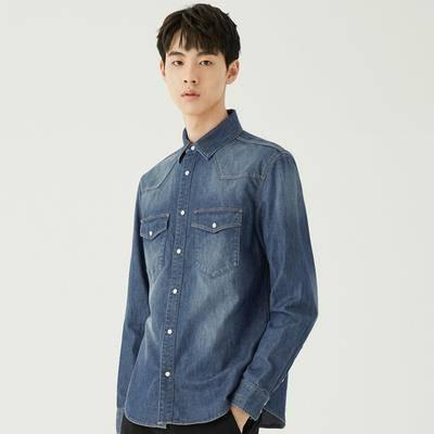 【歷史新低】GXG GA103689G  男士藍色牛仔長袖襯衫