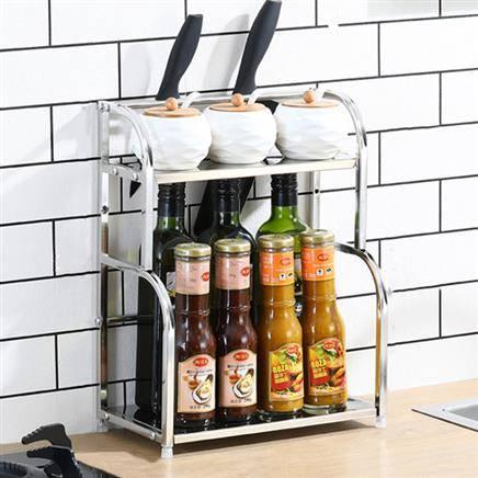 抵现红包:嘉格 厨房不锈钢置物架 2层30cm