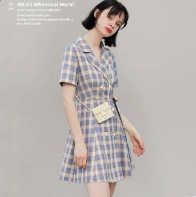 阔色 KSB2004054 女士小紫薯西装领连衣裙