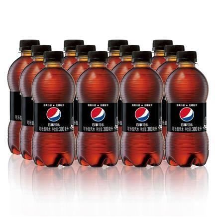 百事可乐 无糖碳酸饮料 可乐型汽水 300mlx12瓶