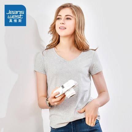 真维斯 JW-92-273504 女款V领纯色T恤 *2件