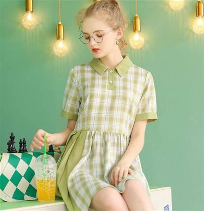 库恩玛维 裙子2020年新款夏天学生高腰衬衫裙 62.4元