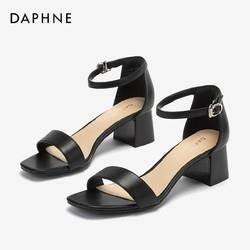 12日0点: DAPHNE 达芙妮 1019303042 一字带粗跟凉鞋 99元