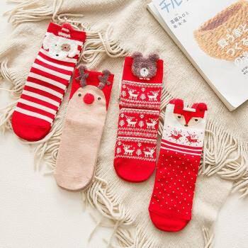 蜜柚妈咪 女士加厚中筒袜圣诞棉袜 4双装15.9元