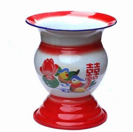 中国传统 老式搪瓷高脚痰盂    42元包邮