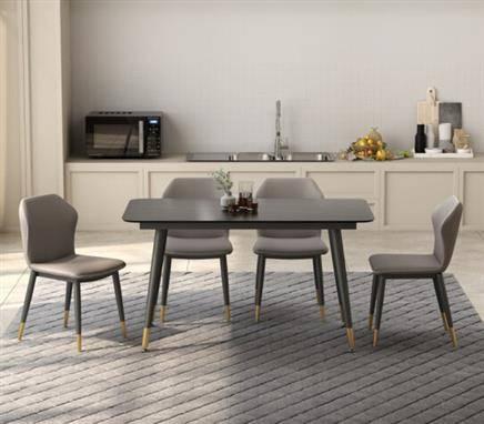 帅狐  岩板餐桌椅组合  一桌四椅  莎罗兰+灰皮椅  150*80*75 1409元包邮