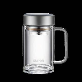 SUPOR 苏泊尔 新款双层耐高温玻璃杯 450ML 流光银 99元