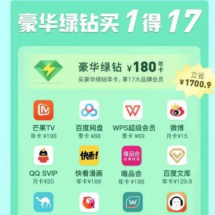 QQ豪华绿钻买1得17权益(包含百度网盘/唯品会/网易严选/去哪儿)随机送京东PLUS会员