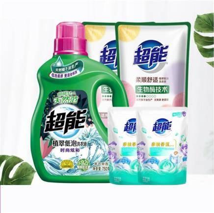京喜APP:超能 植萃低泡洗衣液750g+500g*2 赠洗衣液100g*2袋19.9元