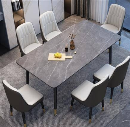 27日10点:卓览 岩板餐桌椅组合 一桌六椅  1.3/1.4米 1345元包邮