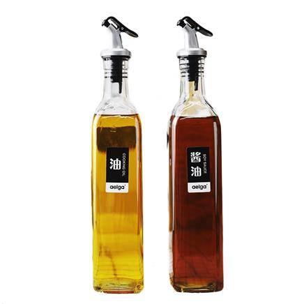 aelga 方形玻璃调料瓶 500ml*2个 T精选